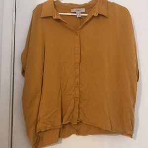 cropped yellow button down